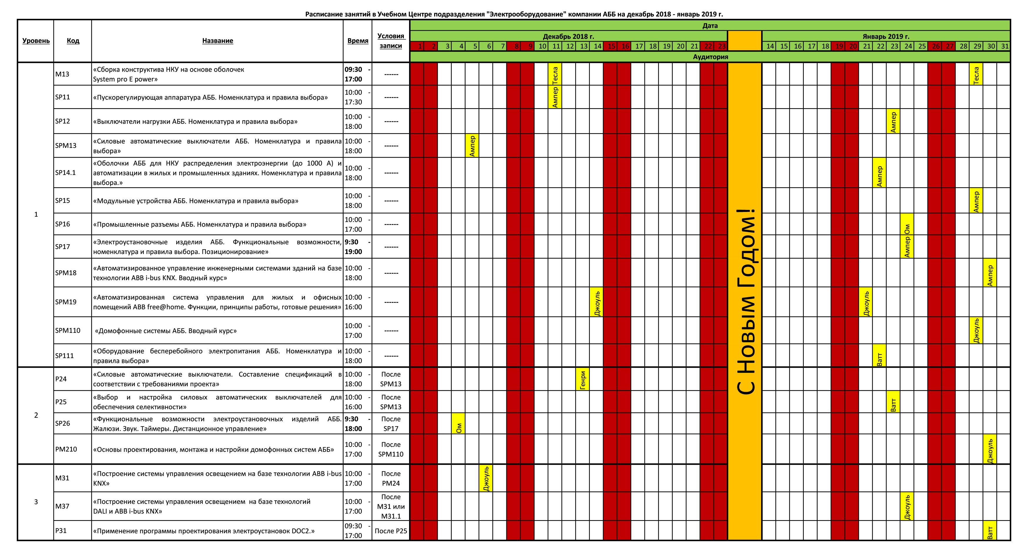 Расписание семинаров в Москве на декабрь 18-январь 19